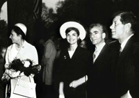 President and Mrs. Kennedy pose with the Shah and the Shahbanou of Iran.