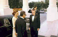 President Nixon greets the Shah of Iran and Empress Farah at the White House, 07/24/1973