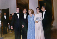 The Shah of Iran, President Nixon, the Shahbanou of Iran, Patricia Nixon and actor Peter Falk 07/24/1973